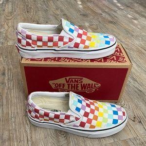 Vans Rainbow Checker Classic Slip On Size 6.5
